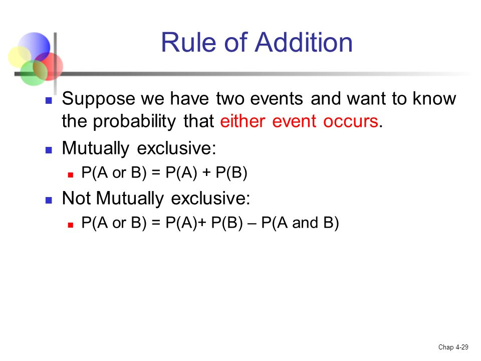Rule of Addition Suppose we have two events and want to know the probability that either event occurs.