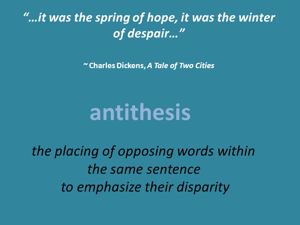 antithesis in a tale of two cities Struggling with charles dickens's a tale of two cities check out our thorough summary and analysis of this literary masterpiece.