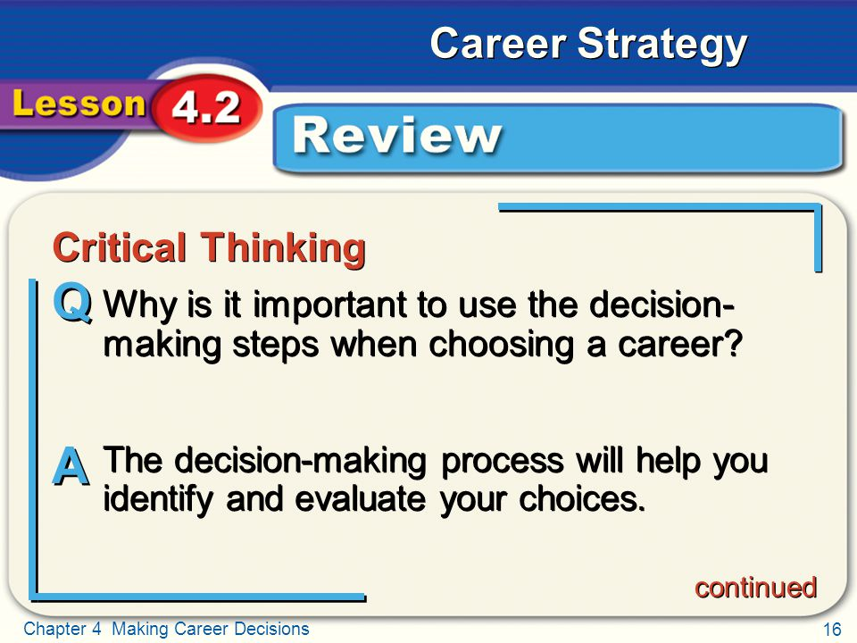 critical thinking and decision making in leadership Critical thinking & problem solving  decision-making  kwela responded very quickly to our last minute request for a presenter for our it leadership team.