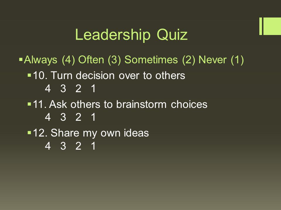quiz 2 leadership What's your leadership style are you like a tech ceo or a world leader more like steve jobs or gandhi is your leadership style creative or rigid people first or.