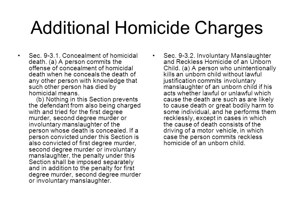 Additional Homicide Charges
