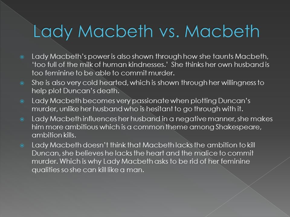 Characterizing the Relationship Between Macbeth & Lady Macbeth