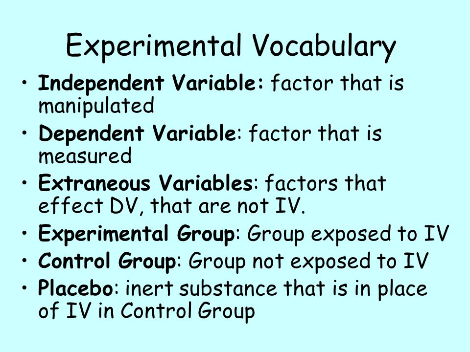 Experimental Vocabulary