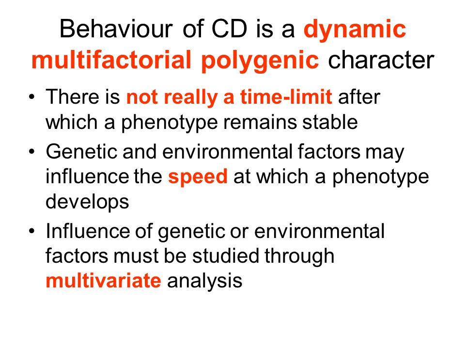 Behaviour of CD is a dynamic multifactorial polygenic character