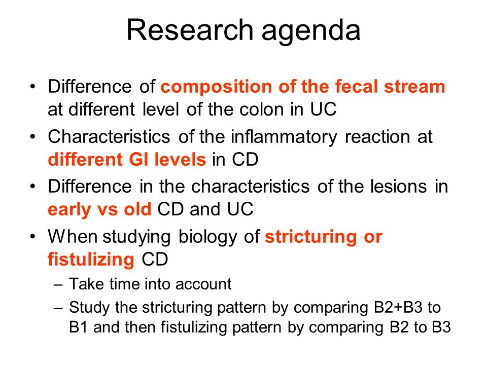 Research agenda Difference of composition of the fecal stream at different level of the colon in UC.