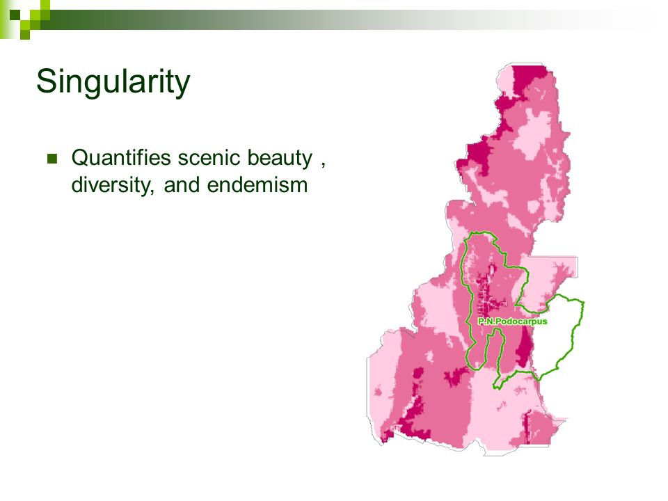 Singularity Quantifies scenic beauty , diversity, and endemism
