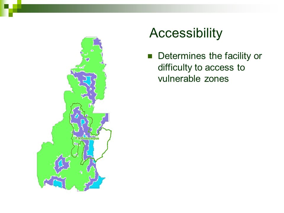 Accessibility Determines the facility or difficulty to access to vulnerable zones.