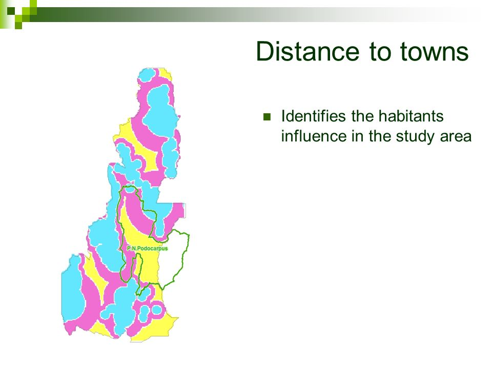 Distance to towns Identifies the habitants influence in the study area