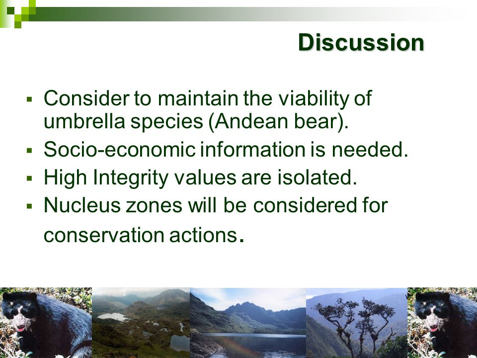 DiscussionConsider to maintain the viability of umbrella species (Andean bear). Socio-economic information is needed.
