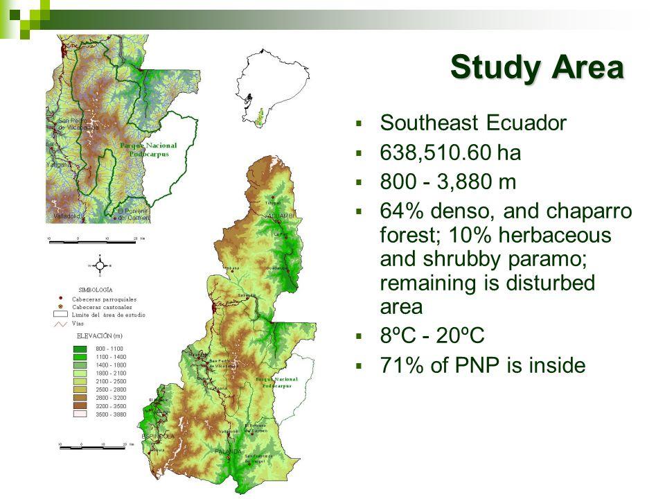 Study Area Southeast Ecuador 638,510.60 ha 800 - 3,880 m