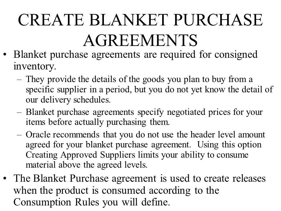 Perfect CREATE BLANKET PURCHASE AGREEMENTS