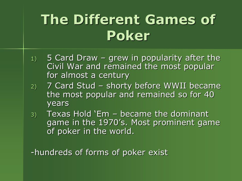 Casino Card Games - Different Card Games in the Casino