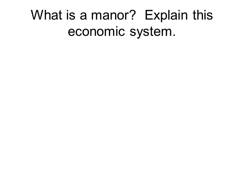What is a manor Explain this economic system.