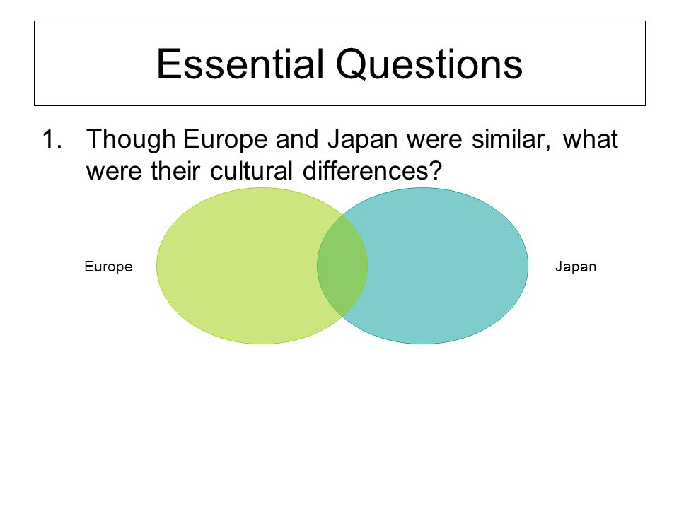 Essential Questions Though Europe and Japan were similar, what were their cultural differences
