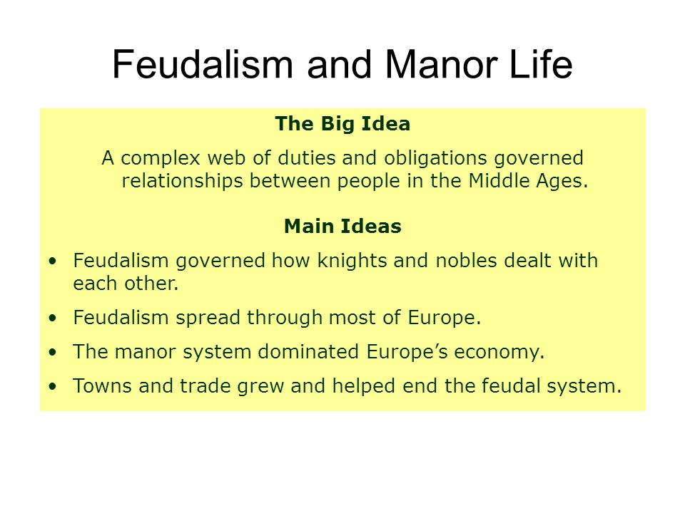 what is the relationship between feudalism and manor system
