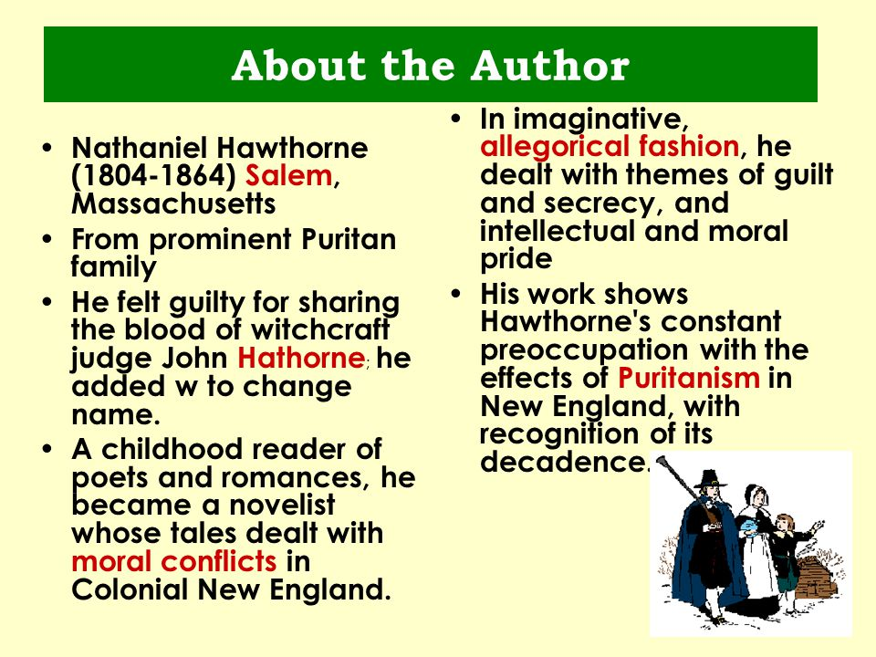 the themes of guilt and its effects as portrayed in nathaniel hawthornes the scarlet letter In nathaniel hawthorne's novel the scarlet letter, the main characters struggle to overcome sin, guilt, and public humiliation in puritan new england society in the beginning of the novel, hester prynne is led to the scaffold to serve her punishment for committing adultery, a crime in puritan culture.