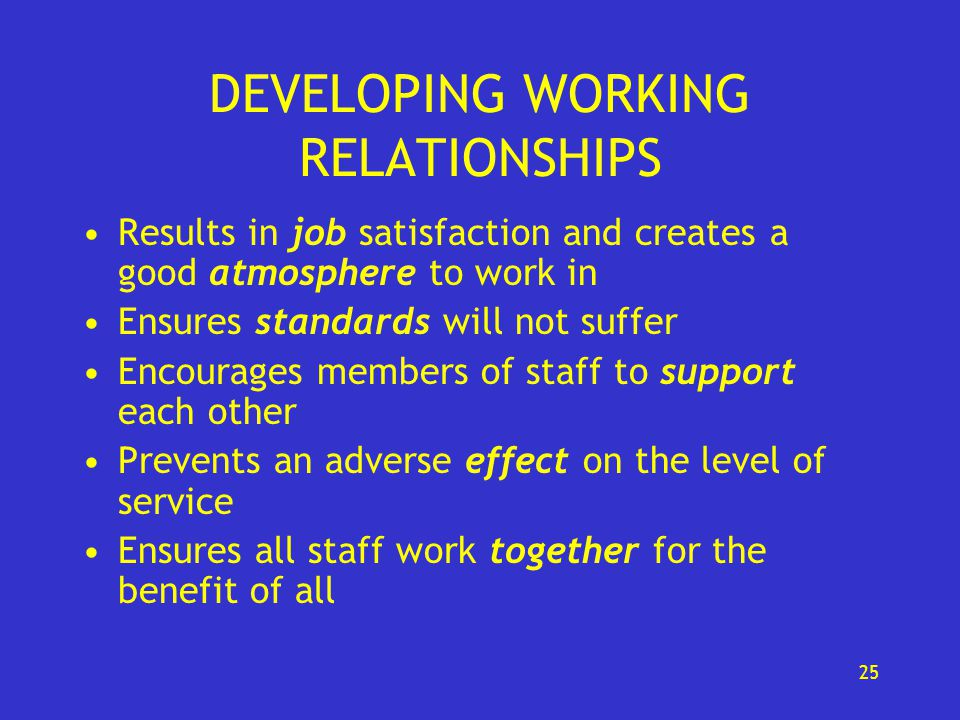 develop procedures for effective working relationships with others 10 ways to build good coworker relationships  use effective communications  griping is okay — so long as you do it to your significant other, relative, non-work friend, or dog.