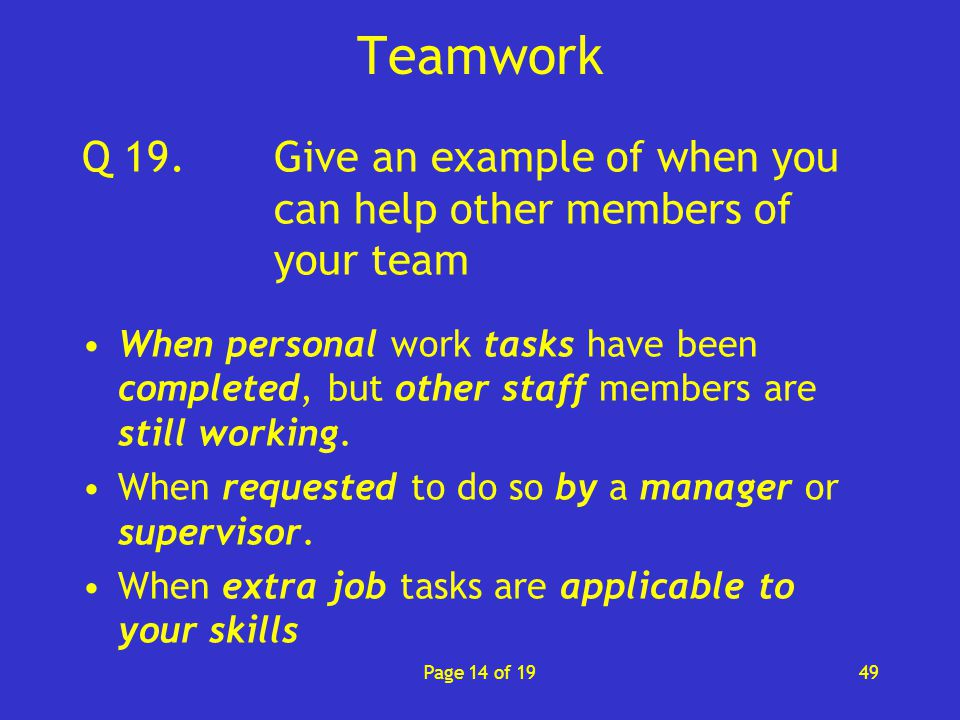 give me an example of teamwork