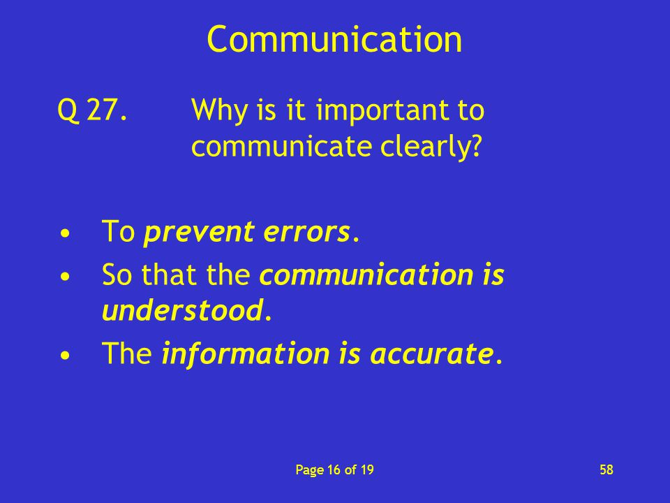 why effective communication is important in The importance of clear, effective communication in healthcare posted on april 13, 2016 share communication in a healthcare setting is one of the most important tools we have for.