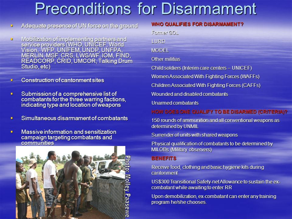 Preconditions for Disarmament