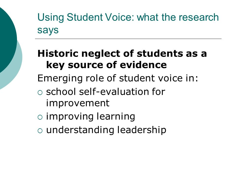 Using Student Voice: what the research says