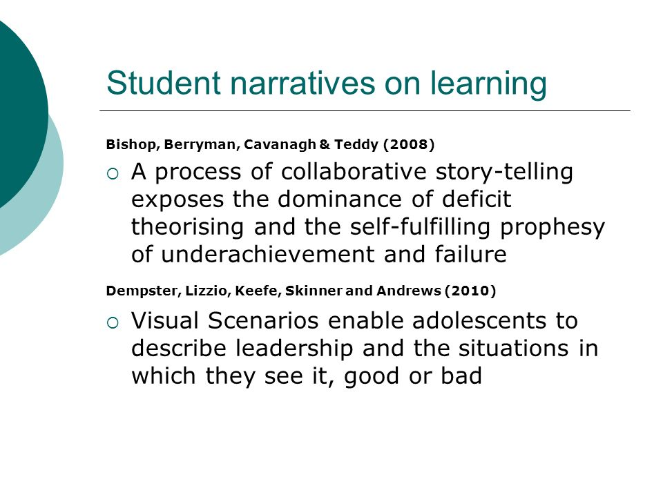 Student narratives on learning