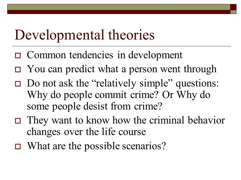 why people commit criminal acts The focus of criminal behavior study is to why do they commit an he/she will more likely conduct a criminal act, because people care what others thinks.