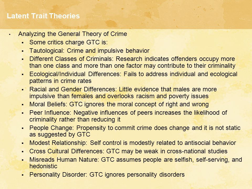The Latent Traint Theory and Violent Crime Essay