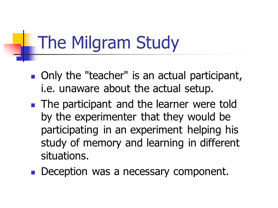 milgrams experiments of the teacher and the learner The milgram experiment was a series of famous scientific studies of social psychology,  the experiments began in july 1961,  the teacher and learner were separated into different rooms where they could communicate but not see each other.