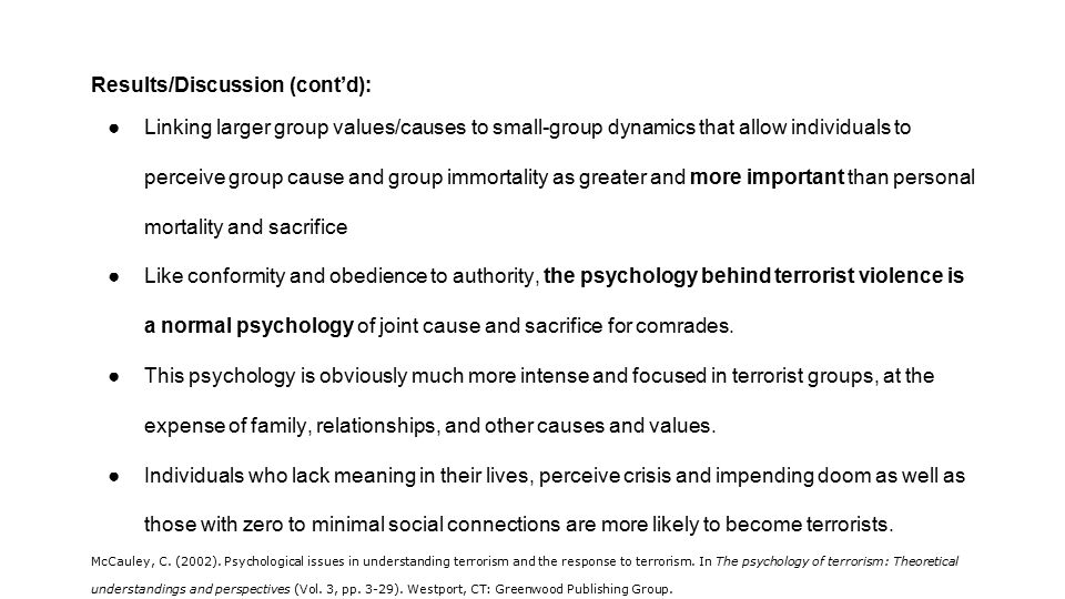 psychology of terrorism 2 essay The psychology of security (part 2) bruce  and our current obsession with terrorism risks at the expense of more  ← the psychology of security (part 1).