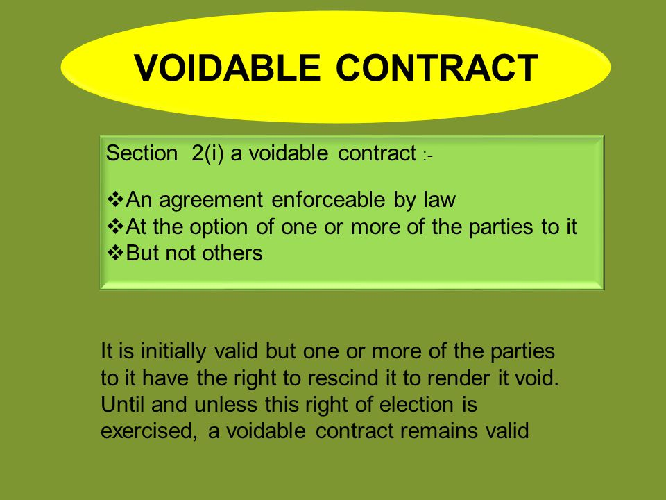 Voidable Contract Section 2i A Voidable Contract Ppt Video