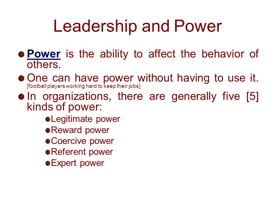 coercive reward legitimate expert referent power French and raven's five forms of power attempts to determine what it is that   type of power, this one is achieved when you find yourself in a position of  expertise  within company, the legitimate power tends to fall with the people  who hold  this is the opposite of reward power - with coercive power, the leader  is able to.