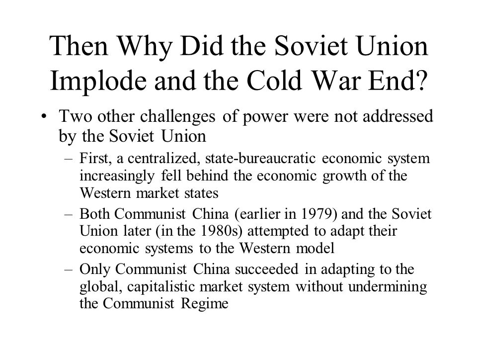why did the cold war end essay For two generations, the cold war overshadowed national and international   between states that had communist governments and those that did not  four  factors played a significant role in the events leading up to the end of the cold  war.