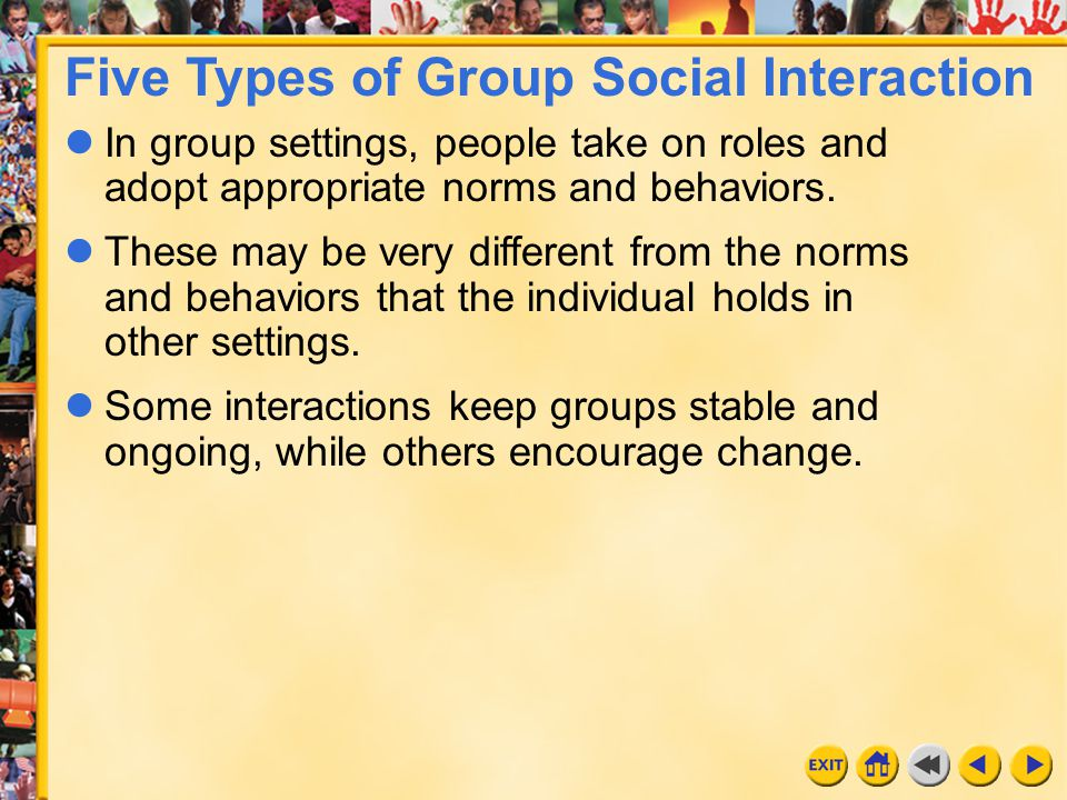 Five Types of Group Social Interaction