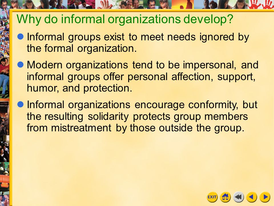 Why do informal organizations develop
