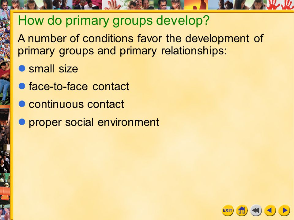 How do primary groups develop
