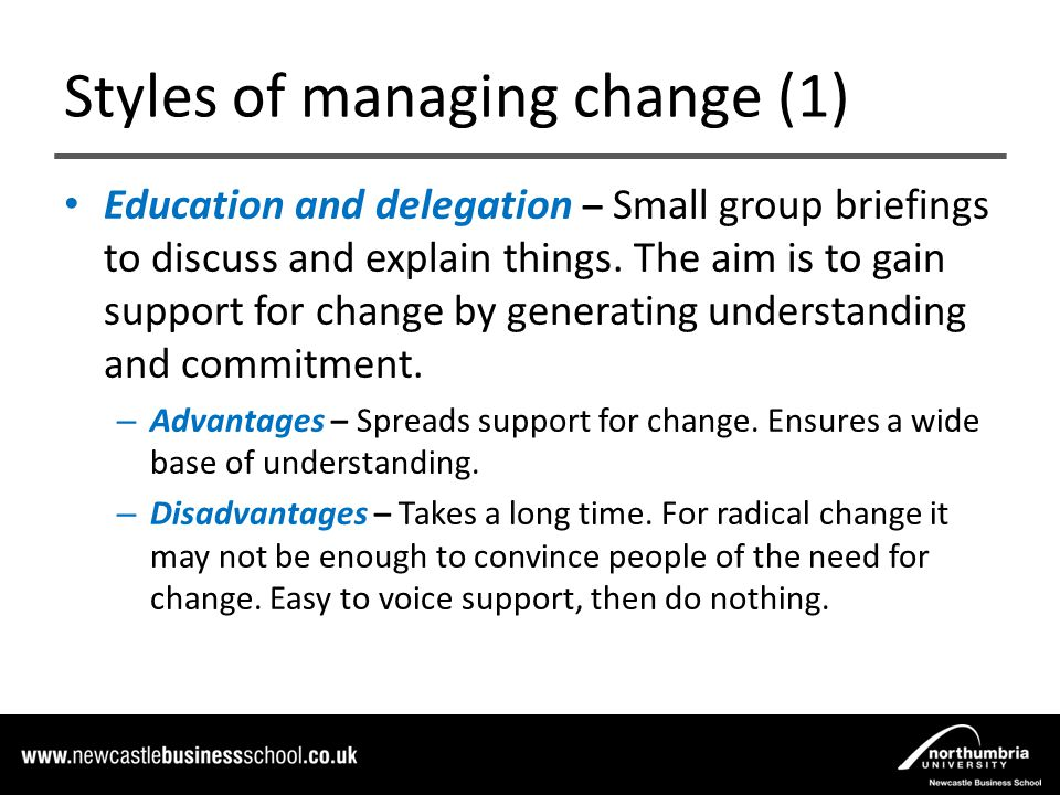 managing styles The management styles you choose, or have chosen for you, need to work with, not against nature the challenge, if you want to do great work is to create pockets of predictability in in an uncertain world you have to be able to do better than just rolling the dice.