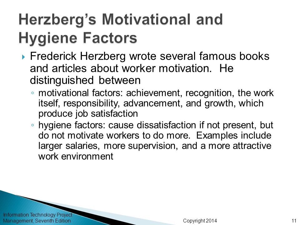 frederick herzberg s motivation and hygiene factors Herzberg's intrinsic/extrinsic factors (hygiene-motivators) herzberg's two factor theory is one of the most well known theories of motivation.