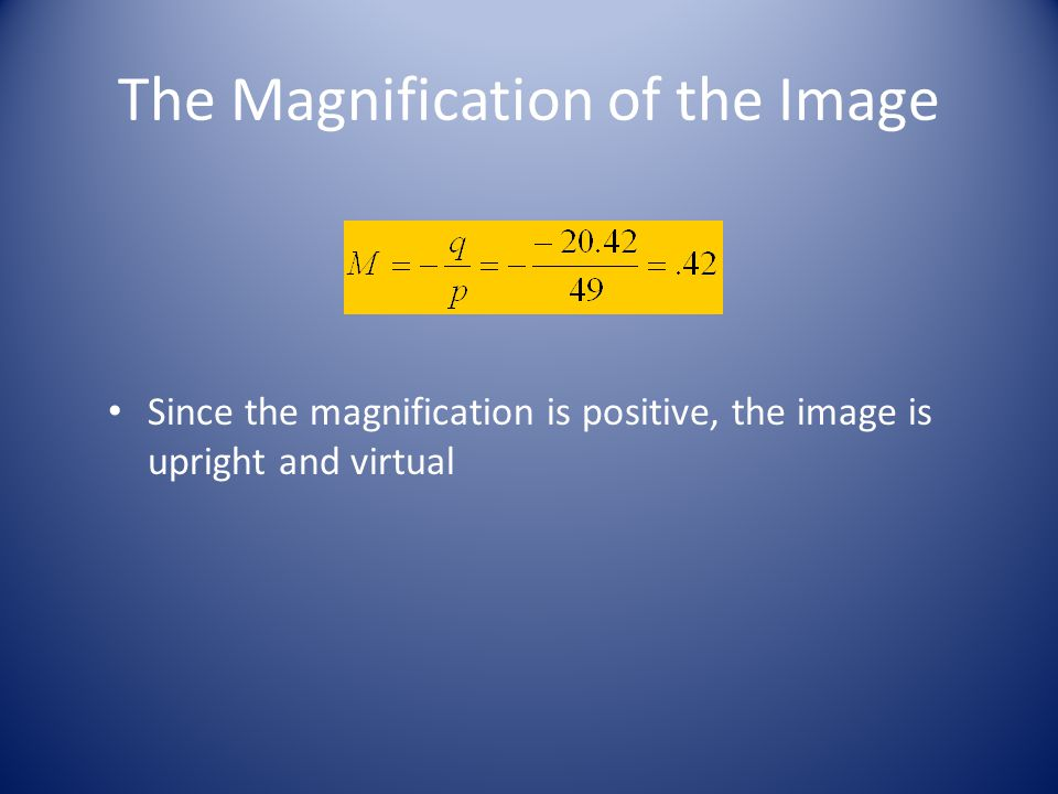 The Magnification of the Image