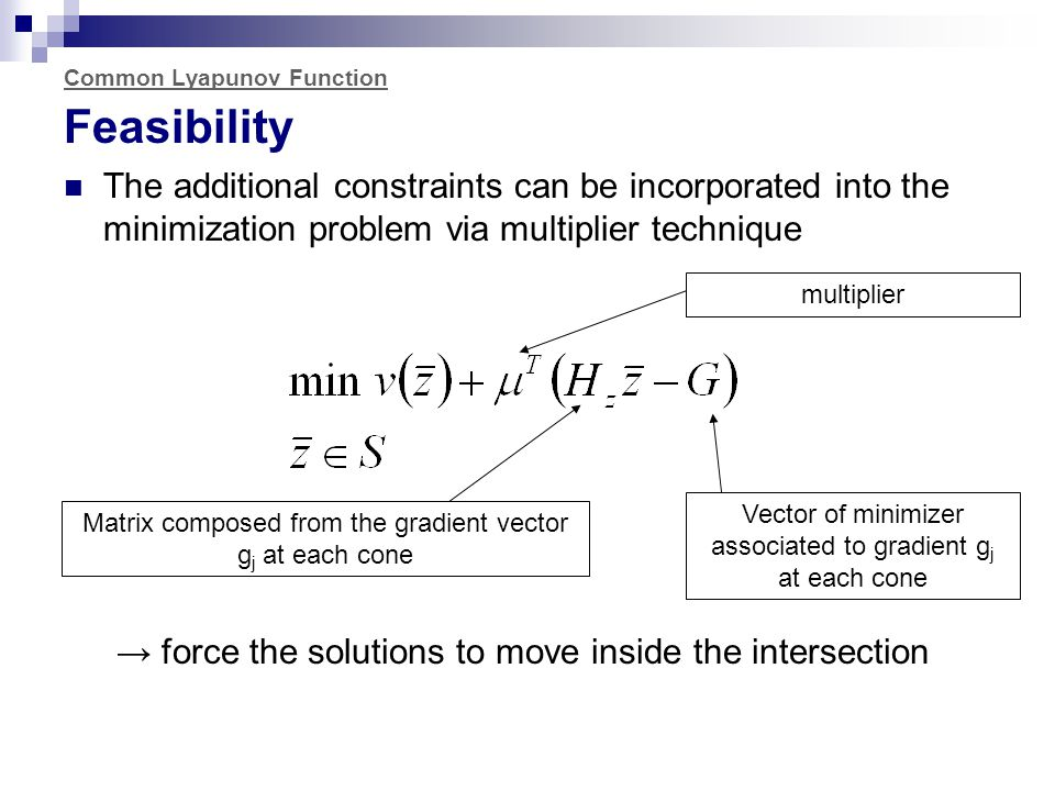 Common Lyapunov Function Feasibility