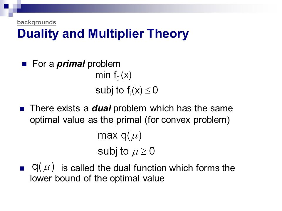 backgrounds Duality and Multiplier Theory