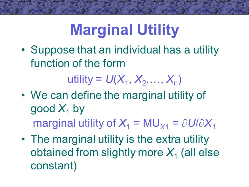 how to find marginal utility from utility function