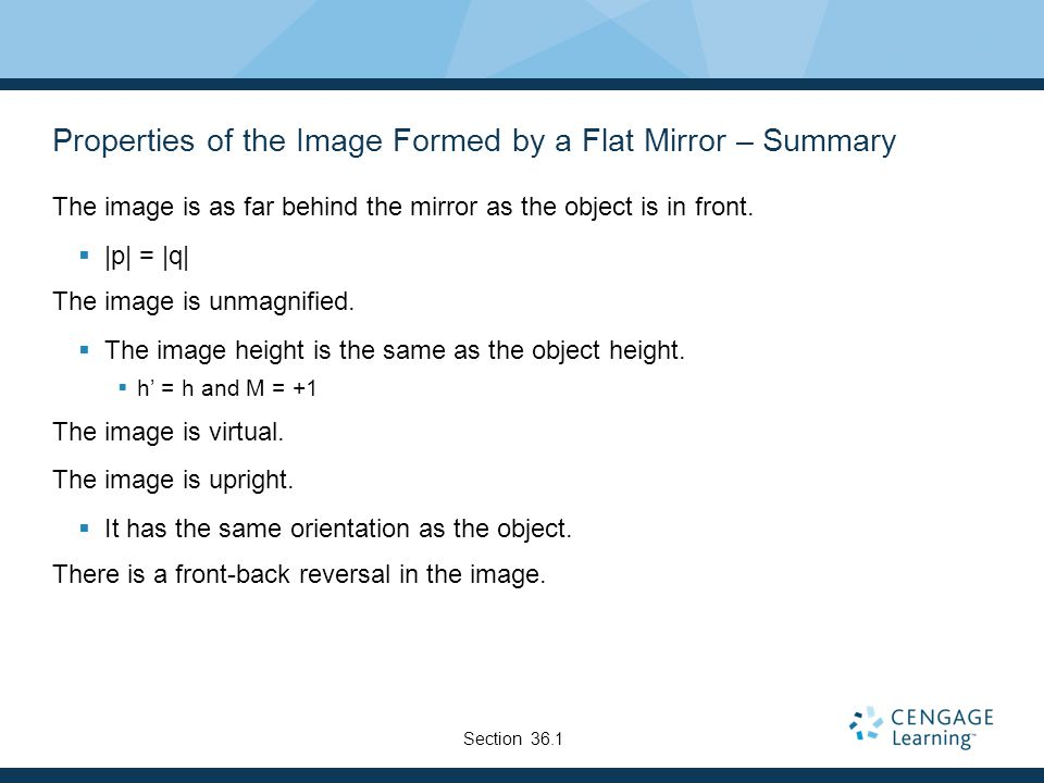 Properties of the Image Formed by a Flat Mirror – Summary
