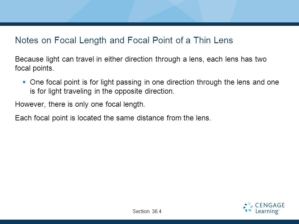 Notes on Focal Length and Focal Point of a Thin Lens