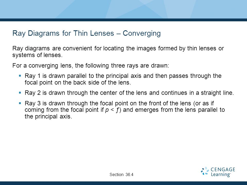 Ray Diagrams for Thin Lenses – Converging