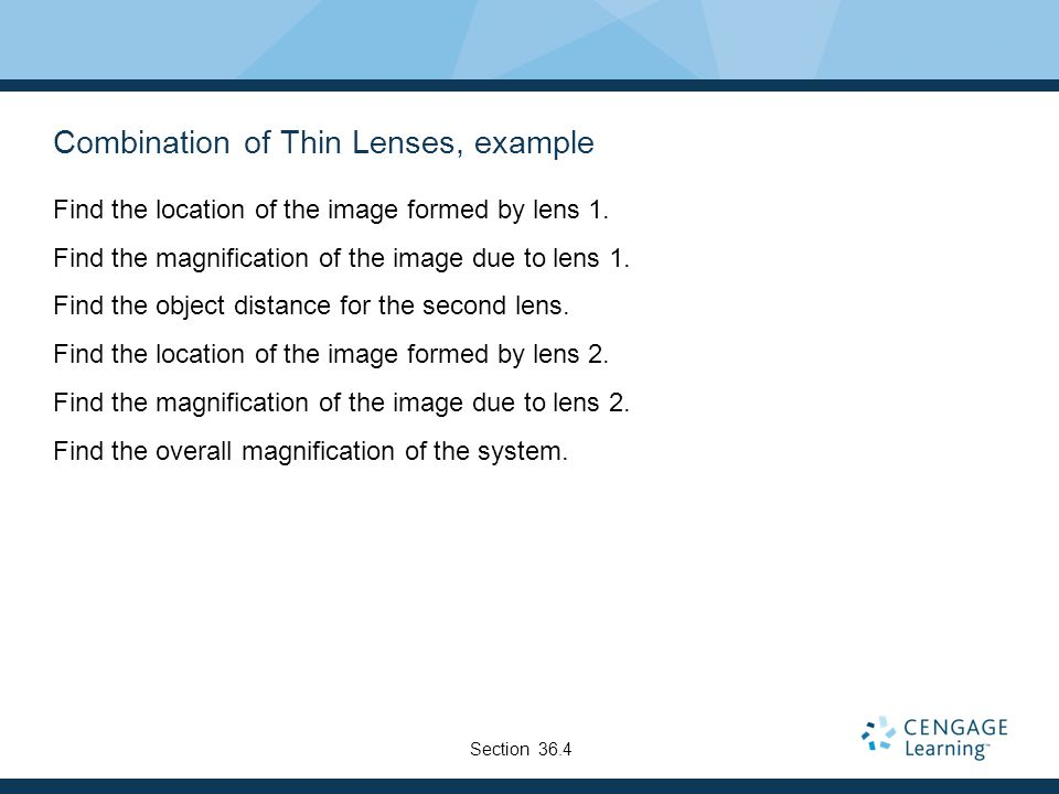 Combination of Thin Lenses, example