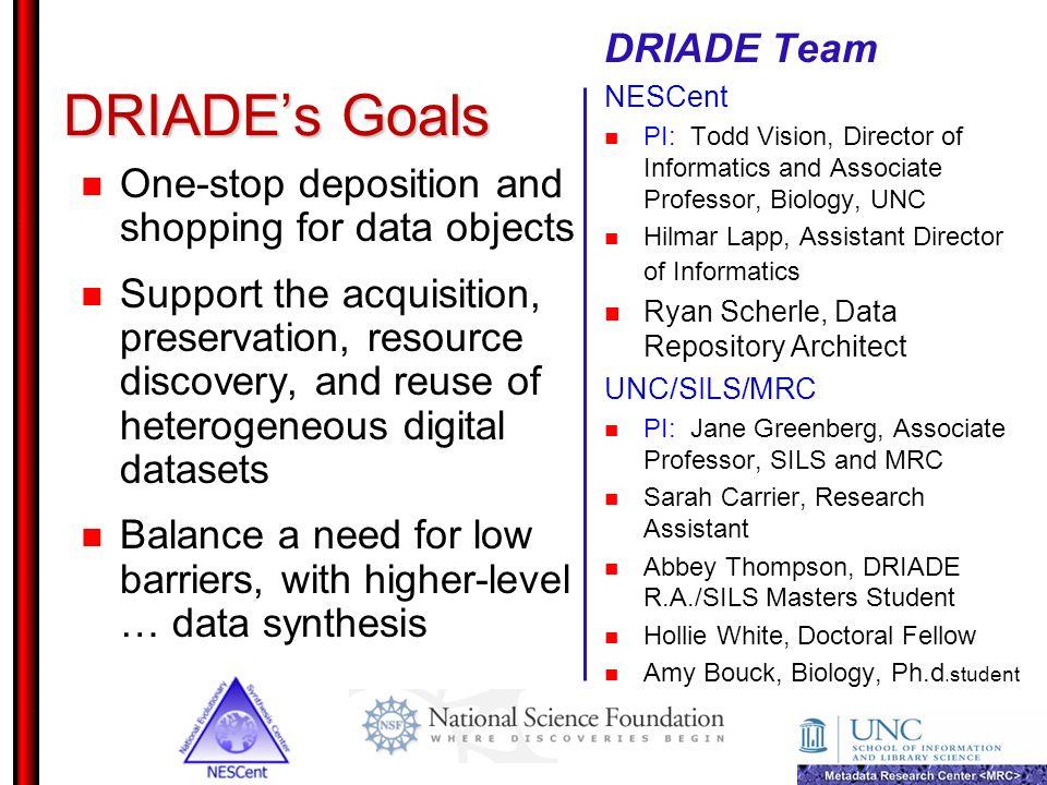 DRIADE's Goals DRIADE Team