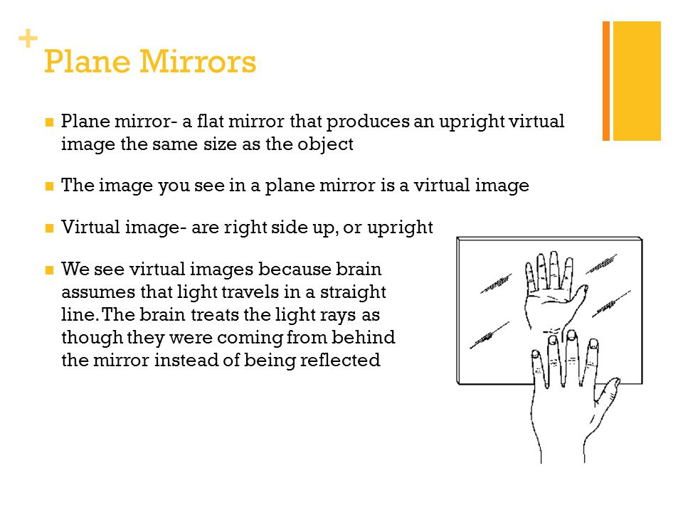 Plane Mirrors Plane mirror- a flat mirror that produces an upright virtual image the same size as the object.