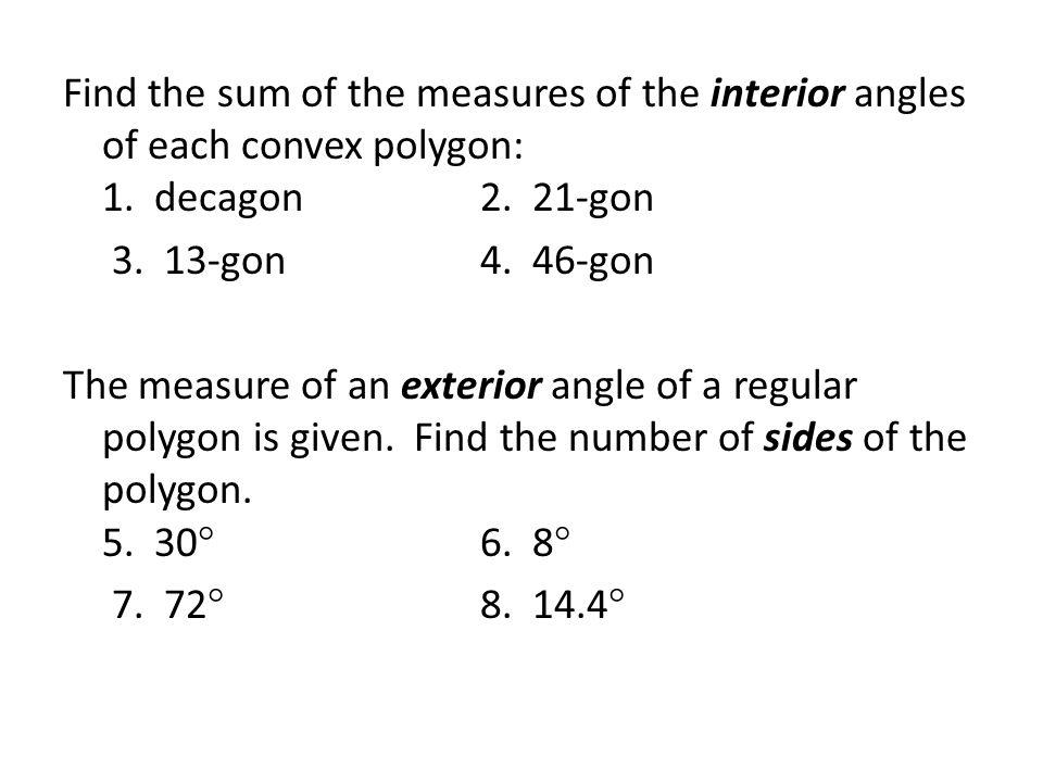Polygons sec 6 1 sol polygons sec 6 1 sol g ppt - Sum of all exterior angles of a polygon ...