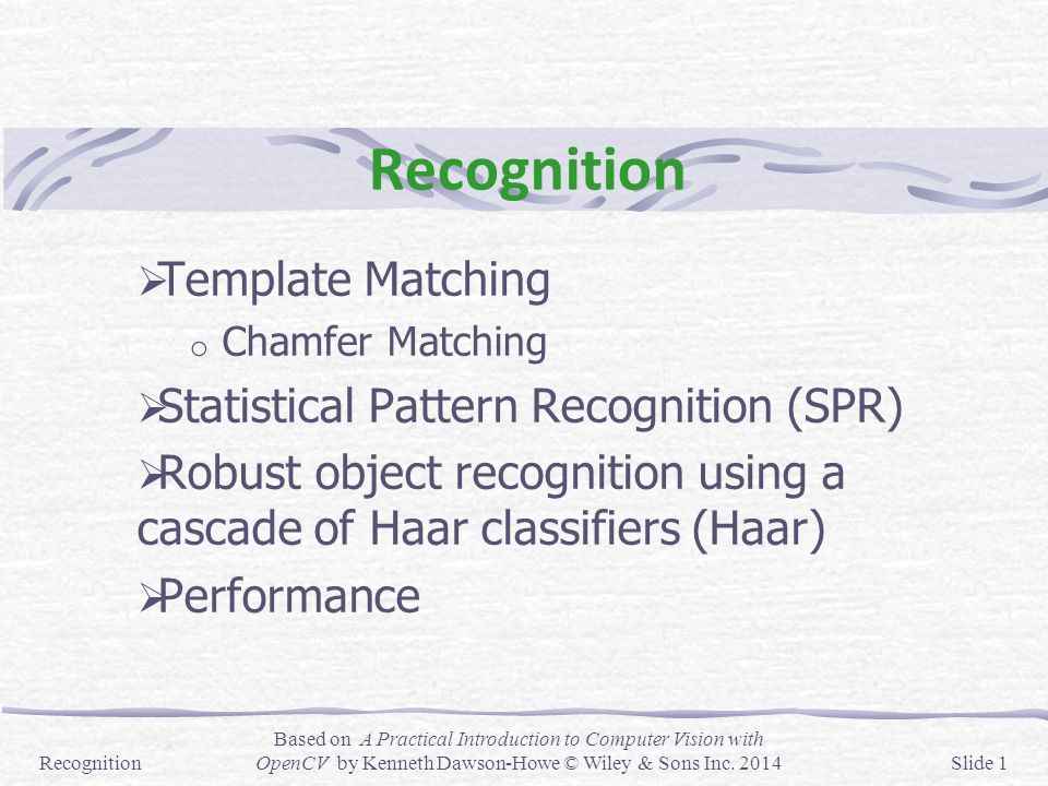 Recognition Template Matching Statistical Pattern Recognition (SPR ...
